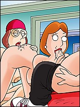 Lois Sucks Chris's Cock While Meg Licks Her Pussy From Behind