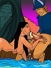 Naked Pocahontas blows a dick