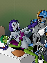 Hot and naked Raven gets gangbanged bu Cyborg and Beast Boy