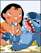Lilo sucking Stitch's Dick