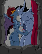 Naked Gargoyles Kissing